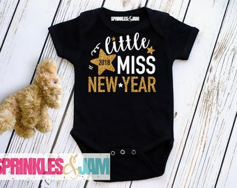 Little Miss New Year, 2018, Baby Girls New Years Outfit, Girls First New Year, Happy New Year