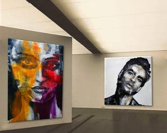 "Portrait XXL black & white red orange purple yellow  large 40 x 60"" inch art painting  original unique color"
