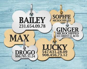 Bone Dog Tag, Custom Dog Tag, Dog Tag, Personalized Tag, Bone Tag, Gold Plated, Brass, Steel, Pet ID Tag, Custom Dog Tag, Dog ID Tag
