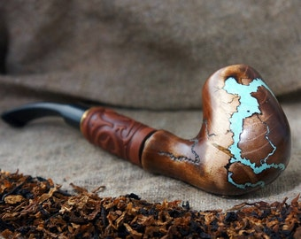 """Long Tobacco Smoking pipe """"Lightning"""" with gemstone Turquoise -Exclusive Wood Pipe -Smoking bowl - Wood carved smoking pipes- Christmas gift"""
