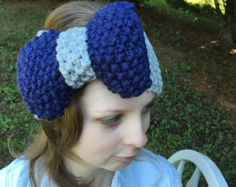 Two Tone Knitted Big Bow Headband, Seed Stitch, Shown in Gray and Navy