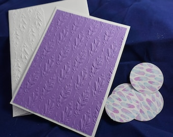 CLEARANCE of 5 embossed all occasion cards, purple embossed cards, feather card set, made in hawaii, gifts for her, feather embossed