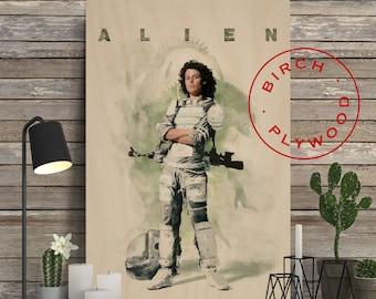 ALIEN - Poster on Wood, Sigourney Weaver, Tom Skerritt, John Hurt, Movie Poster, Alien Poster, Alien Movie, Unique Gift, Wood Gift