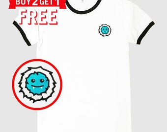 YETI Face Sun Version Embroidered Ringer T-Shirt by 24PlanetsStudio