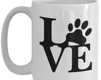 Pets Leave Imprints On Our Hearts! Paw Print in LOVE on 15 oz Black Ceramic Coffee Cup / Tea Cup / Mug!
