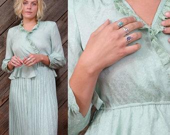 Light, shimmery turquoise dress/ Japanese Vintage / Feminine / Romantic / Wedding dress / Bridal dress / Secretary / 60s / 70s / Size S-M