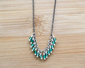 Green Agate and Oxidized Sterling Silver Necklace, Green Beaded Fringe Necklace, Boho Style Gemstone Necklace, Green Agate Jewelry