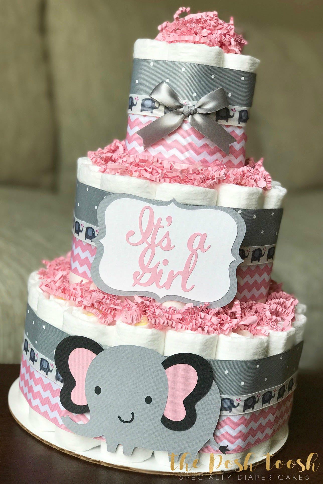 Elephant Diaper Cake Pink and Gray Grey Girl It s A Girl
