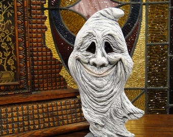 Ghost Figurine Halloween Decoration, Hand Painted Ceramic