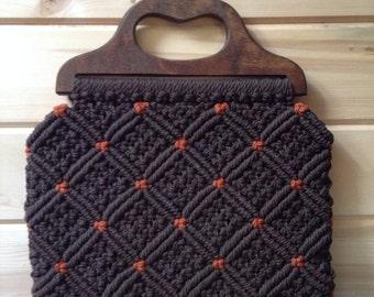 Vintage hand made macrame purse/handbag with wood handle.
