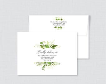 "EDITABLE Wedding Envelopes - Printable, Editable Green Wedding Envelopes with Calligraphy ""Kindly Deliver To:"" Rustic Greenery Leaves 0007"