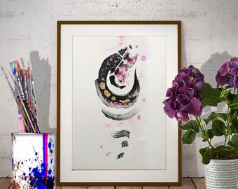 Original abstract gold leaf painting Vertical painting in Black and Pink Original artwork Gold leaf wall art Watercolor and Acrylic fine art