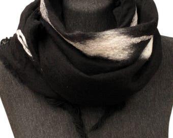 Super elegant woman scarf, Silk scarf, Merino wool scarf, Felt scarf, Winter scarf, Black scarf, Unique nuno felt scarf,  Women scarf, Shawl