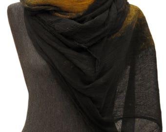 Mustard scarf, Ocher scarf, Nuno felted scarf, Saffron scarf, Woman scarf, merino wool scarf, Felted scarf, oversized scarf, Scarf, Shawl