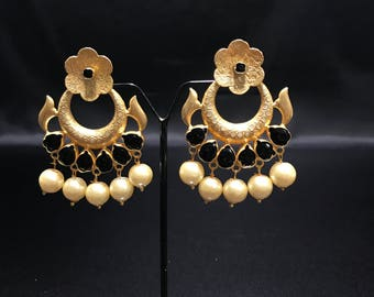 Indian Jewelry - Indian Earrings - Bollywood Jewelry - Bollywood Earrings - Pakistani Earrings - Black Earrings - Indian Bridal Wedding -
