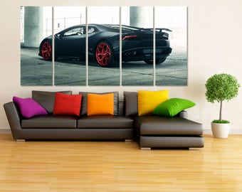 Black Lamborghini Canvas Print, Lamborghini Poster, Extra Large Framed Car Wall Art, Framed Canvas Print, Dark Car Wall Decor, Garage MR13