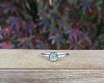 Sterling Silver Golden Rutilated Quartz Ring / Sterling Silver Ring / Rutile Quartz Stack Ring / Gold Rutile Quartz / Golden Rutile Quartz