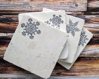 Snowflake Stone Coasters, Snowflake Home Decor, Winter Snowflake Decor, Christmas Coasters, Snowflake Gift, Snow Coasters, Christmas Table