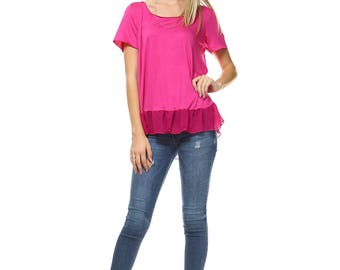 Women's Fuchsia High Low Tunic, Scoop Neck, Mesh, Contrast, Chiffon, Scoop Neck, Size S M L XL - Made in USA