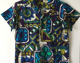 Vintage Cotton Tiki Tropical Summer Jazzy Hawaiian Shirt 12 - 13y