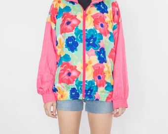 Vintage 90s Flowers Pink Bomber Jacket