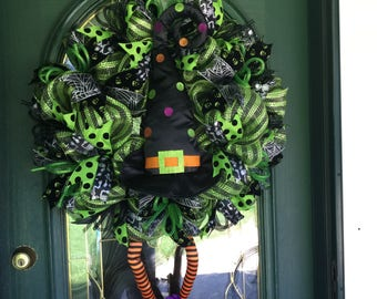 Halloween Witch Deco Mesh Wreath with Green and Black