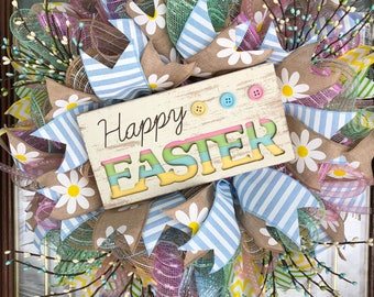 Happy Easter Holiday Spring Deco Mesh Wreath for Front Door