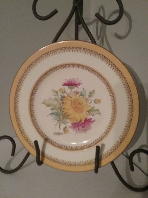 Crown Ducal Made In England Plate, Hand-painted Ducal Vintage Plate, R.E. Hauge painted Chrysanthemum, Vintage Ducal Hand Painted Plate