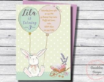 Bunny birthday invitation, Bunny first birthday invite, Bunny invitation, Floral bunny invite, Pastel Bunny, birthday invite, Girl birthday