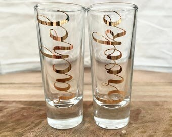 Personalized Shot Glass Bridesmaid/Groomsman/Birthday Gift YOUR NAME chrome gold.