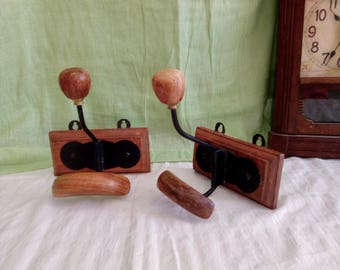 2 Hat and Coat Fixtures - 1990s Repros - French - Wood and Metal Wall Pegs - Entrance Decor