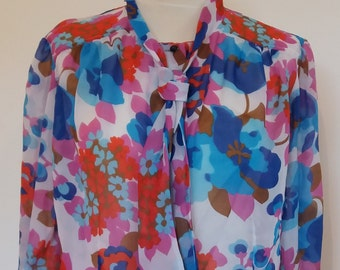 Vintage 80's Tie Neck Shirt, Floral Shirt, Long Sleeves Blouse