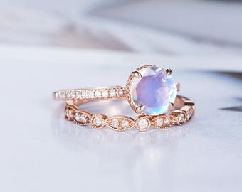 moonstone engagement ring sets bridal sets art deco wedding rose gold bridal ring diamond stacking half - Moonstone Wedding Rings