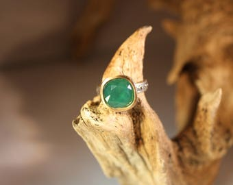 Brighton Green Onyx  Ring, Silver-Brushed Gold