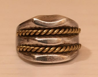 Mexico Mexican Sterling Silver and Brass Ring - Size 9.25