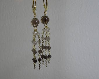 Earrings with smoked quartz