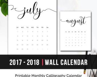 2017 Calendar Minimalist Letter Calendar Calligraphy 2017