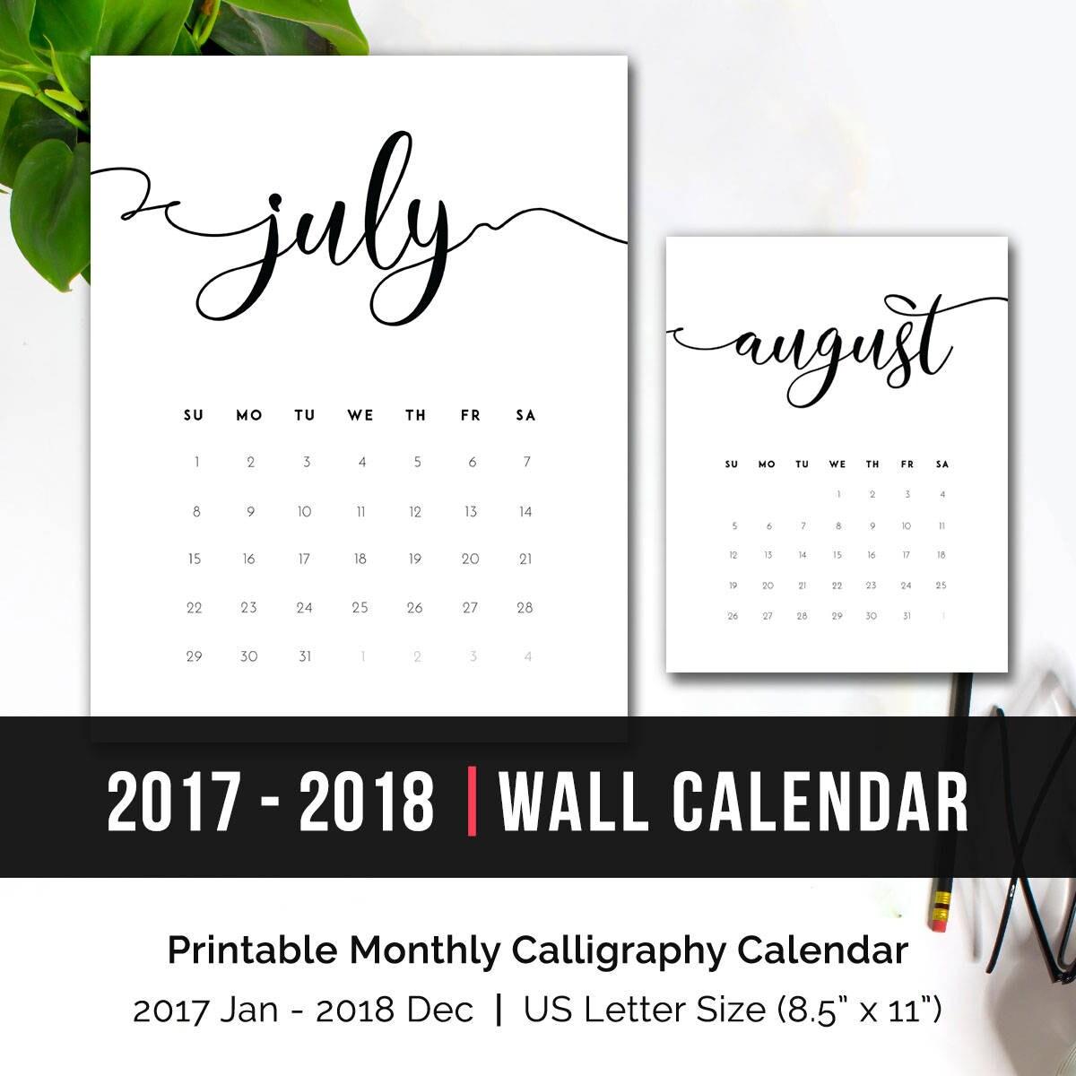 Printable Monthly Calendars 2018: Printable Calendar 2018 Monthly Wall Calendar 2018 Monthly