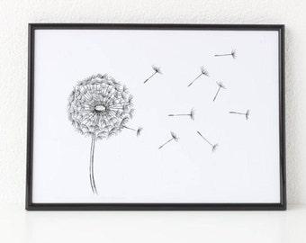 Dandelion, Black and White Print, Nature Print