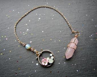 Rose Quartz Pendulum with Pink Blossom, Rose Quartz Pendulum, Bijou Pendulum, Pendulum dowsing, Pendulum, tarot