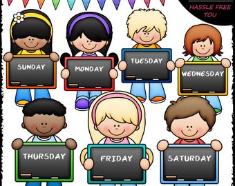 Days of The Week Kids Clip Art and B&W Set