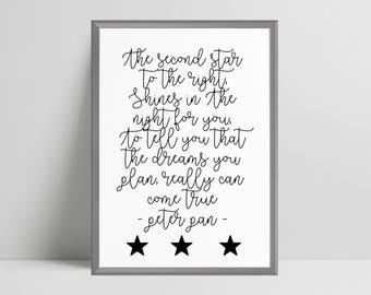 Peter pan lyrics quote print nursery decor, nursery print