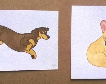 Mini Dogs Original Watercolour Illustration