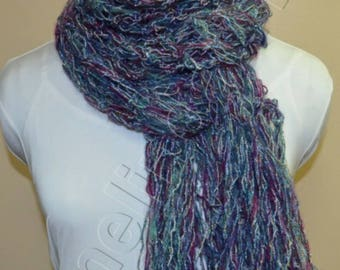 Extra Long Crochet Scarf, in Blue with hint of Green and Metallic Highlights.