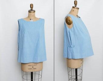 vintage 1950s blue corduroy maternity top