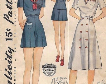 Vintage 1940's Sewing Pattern WW2 Sailor Collar Playsuit nautical High waist B36