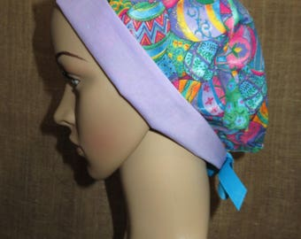 Easter Eggs Lavendar Contrast Pixie Style  Surgical OR Scrub Hat