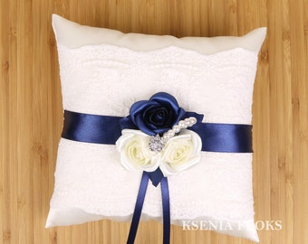 Ring Bearer Pillow Ivory and Navy Blue Ring Pillow Wedding Ring Bearer Pillow & Flower ring pillow   Etsy pillowsntoast.com