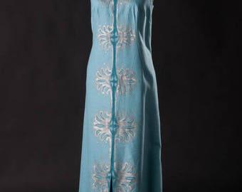 Hand Painted Vintge 60s Maxi Dress