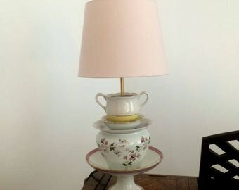 Old porcelain, cups, sugar, teapot, teacup Cup lamp